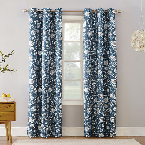 Sun Zero Jorah Botanical Print Room Darkening Thermal Insulated Grommet Top Curtain Panel