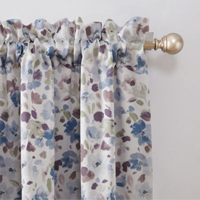 Sun Zero Isabella Floral Print Room Darkening Rod -  Pocket Curtain Panel