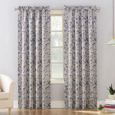 Sun Zero Isabella Floral Print Room Darkening Rod - Pocket Curtain Panel