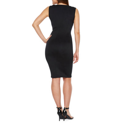 Bold Elements Sleeveless Lace Shoulder Bodycon Dress