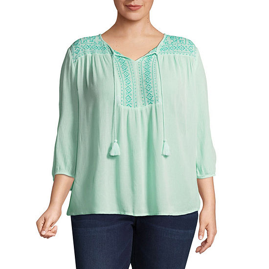 St. John's Bay® 3/4 Sleeve Embroidered Bib Blouse - Plus