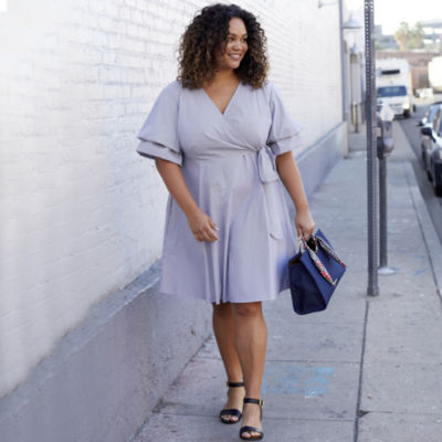 Boutique + Elbow Sleeve Stripe Wrap Dress - Plus