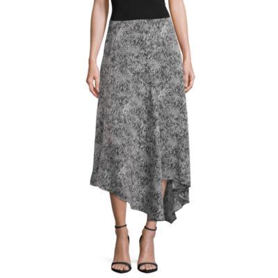 Worthington Womens Midi Asymmetrical Skirt