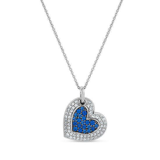 Womens Simulated Blue Sapphire Sterling Silver Heart Pendant Necklace