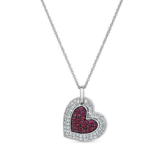 Womens Simulated Red Ruby Sterling Silver Heart Pendant Necklace
