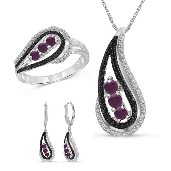 Diamond Accent Lab Created Red Ruby Sterling Silver 3-pc. Jewelry Set