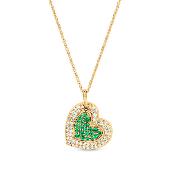 Womens Simulated Green Emerald 18K Gold Over Silver Heart Pendant Necklace