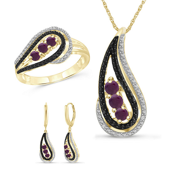 Diamond Accent Lab Created Red Ruby 14K Gold Over Silver 3-pc. Jewelry Set