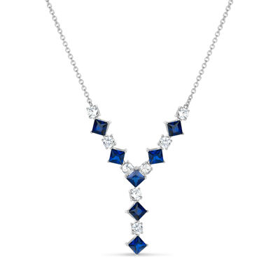 Womens Lab Created Blue Sapphire Sterling Silver Y Necklace