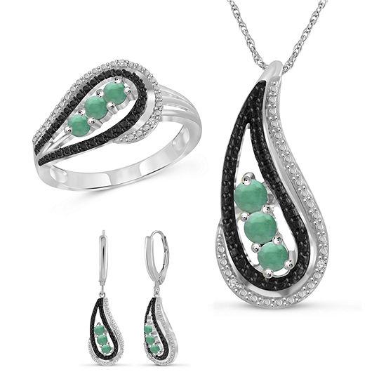 Diamond Accent Genuine Green Emerald Sterling Silver 3-pc. Jewelry Set