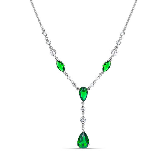 Womens Lab Created Green Emerald Sterling Silver Y Necklace
