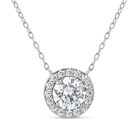 Womens Lab Created White Sapphire 18K Gold Over Silver Sterling Silver Round Pendant Necklace