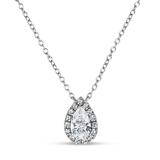Womens Lab Created White Sapphire 18K Gold Over Silver Sterling Silver Pear Pendant Necklace