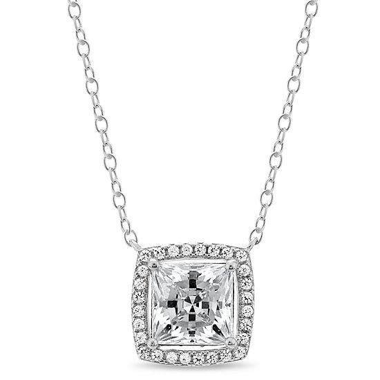 Womens Lab Created White Sapphire 18K Gold Over Silver Sterling Silver Square Pendant Necklace