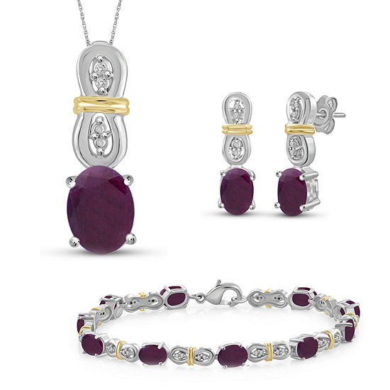 Diamond Accent Lab Created Red Ruby 14k Two Tone Gold Over Silver 4 Pc Jewelry Set