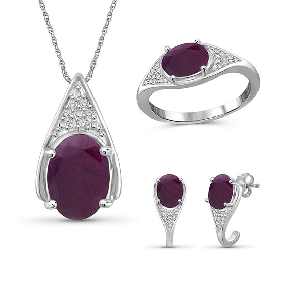 Diamond Accent Lab Created Red Ruby Sterling Silver 3 Pc Jewelry Set