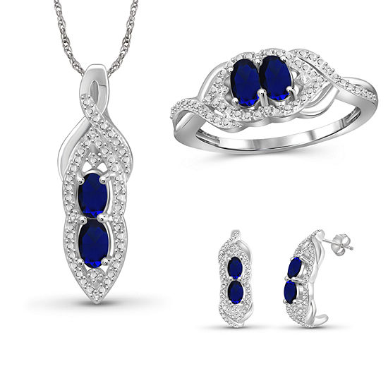 Diamond Accent Genuine Blue Sapphire Sterling Silver 3-pc. Jewelry Set