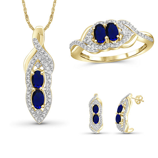 Diamond Accent Genuine Blue Sapphire 14k Gold Over Silver 3 Pc Jewelry Set