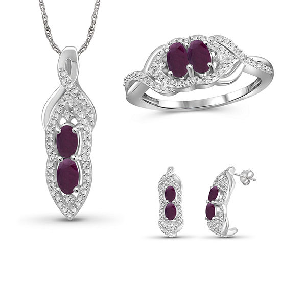 Diamond Accent Lead Glass-Filled Red Ruby Sterling Silver 3-pc. Jewelry Set