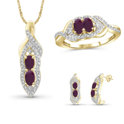 Diamond Accent Lead Glass-Filled Red Ruby 3-pc. Jewelry Set