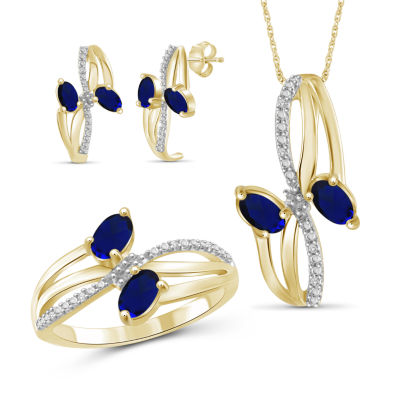 Diamond Accent Genuine Blue Sapphire 14K Gold Over Silver 3-pc. Jewelry Set