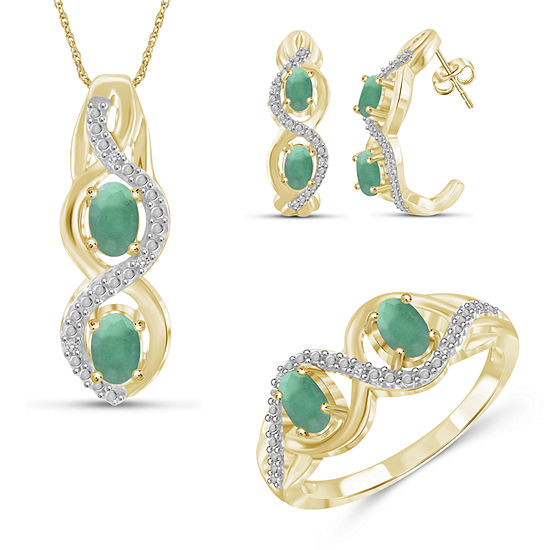 Diamond Accent Genuine Green Emerald 14K Gold Over Silver 3-pc. Jewelry Set