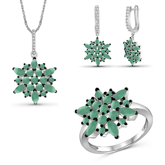 Genuine Green Emerald Sterling Silver 3-pc. Jewelry Set