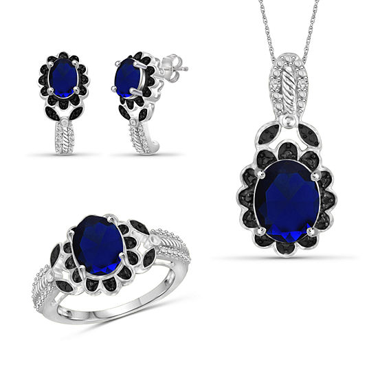 Diamond Accent Genuine Blue Sapphire Sterling Silver 3 Pc Jewelry Set