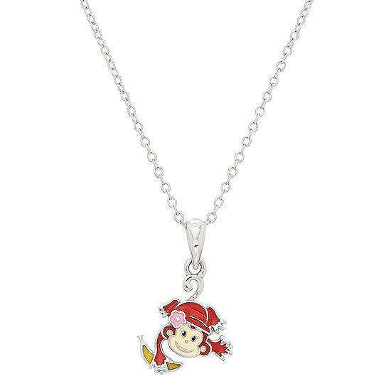 Nana's Crazy Monkeys Children's Girls Sterling Silver Pendant Necklace