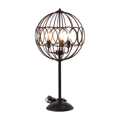 Willow Row Circle Cage Iron Table Lamp