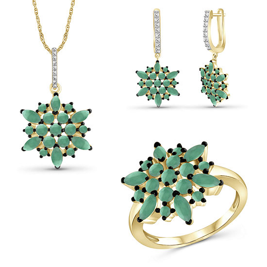 Genuine Green Emerald 14K Gold Over Silver 3-pc. Jewelry Set