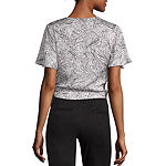 Worthington Womens Y Neck Short Sleeve Wrap Shirt