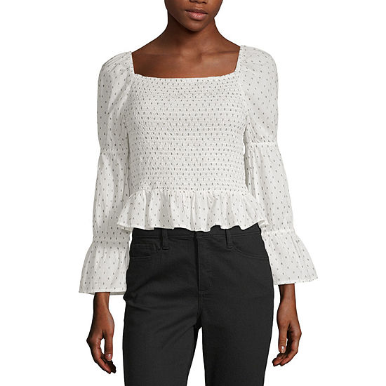 a.n.a Womens Square Neck Long Sleeve Blouse