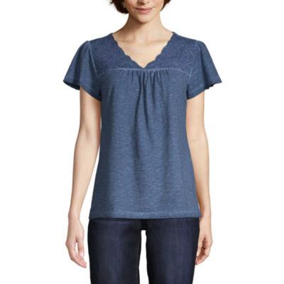 St. John's Bay-Womens V Neck Short Sleeve T-Shirt