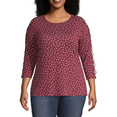 Wallpapher Womens ¾ Cutout Sleeve French Terry T-Shirt - Plus