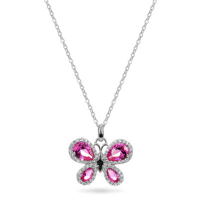 Womens Lab Created Pink Sapphire Butterfly Pendant Necklace