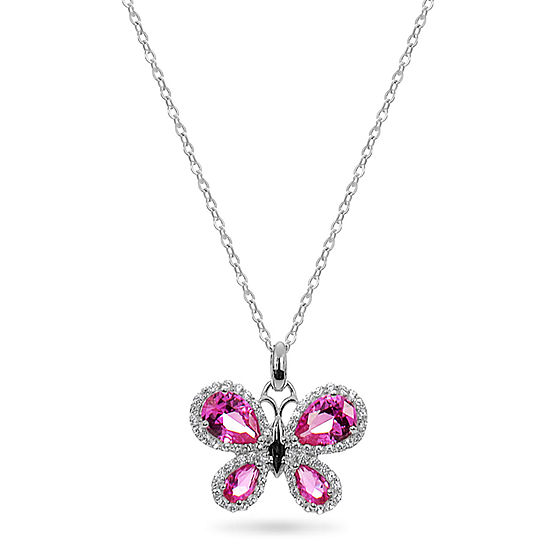 Womens Lab Created Pink Sapphire Sterling Silver Butterfly Pendant Necklace