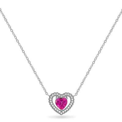 Womens Lab Created Pink Sapphire Sterling Silver Heart Pendant Necklace