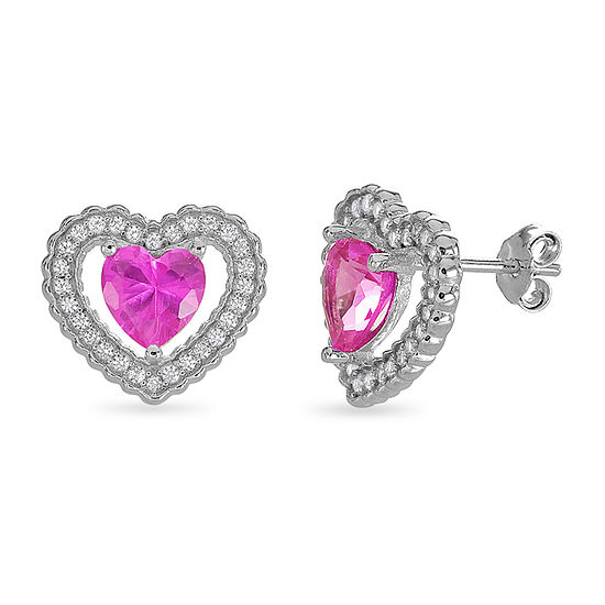 Lab Created Pink Sapphire Sterling Silver 12.3mm Heart Stud Earrings