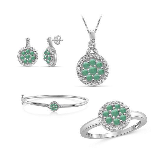1/10 CT. T.W. Genuine Green Emerald Sterling Silver 4-pc. Jewelry Set