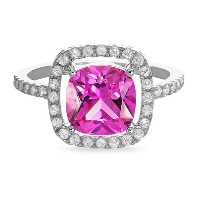 Womens Lab Created Pink Sapphire Sterling Silver Square Halo Cocktail Ring