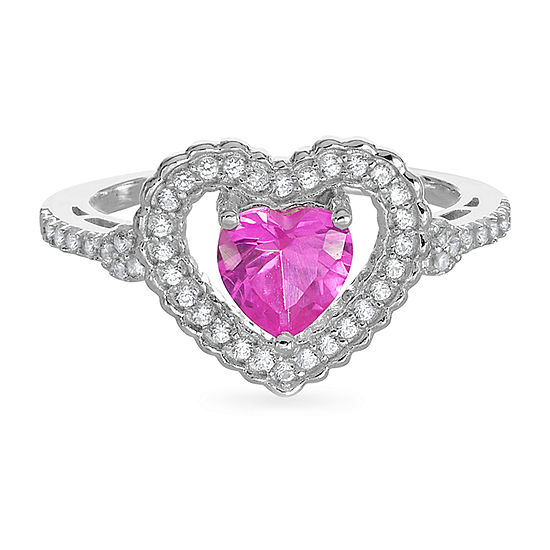 Womens Lab Created Pink Sapphire Sterling Silver Heart Halo Cocktail Ring