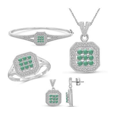 1/7 CT. T.W. Genuine Green Emerald 4-pc. Jewelry Set