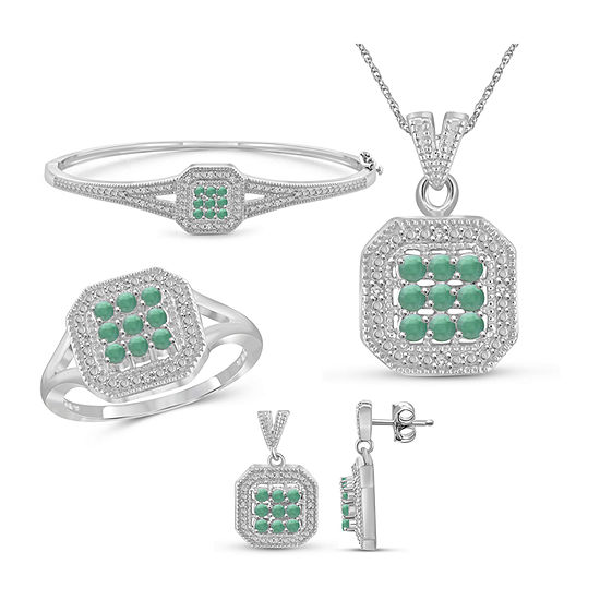 1/7 CT. T.W. Genuine Green Emerald Sterling Silver 4-pc. Jewelry Set