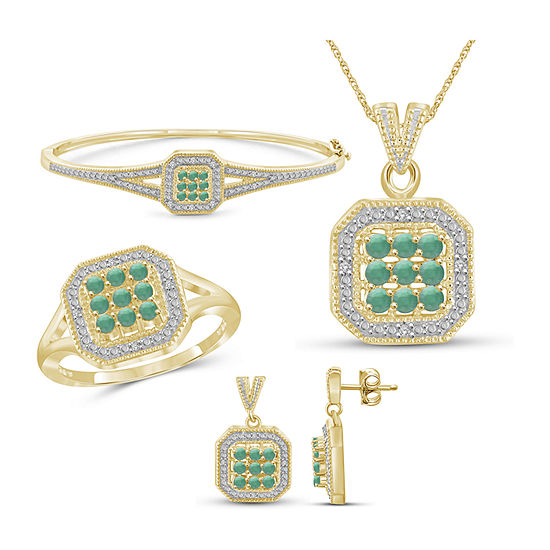 1 7 Ct Tw Genuine Green Emerald 14k Gold Over Silver 4 Pc Jewelry Set