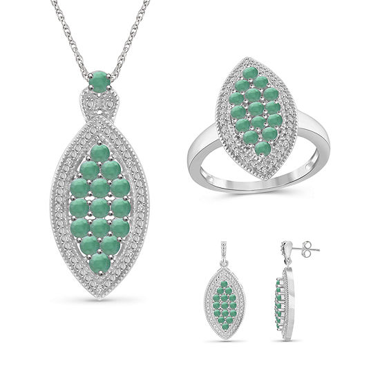 1/10 CT. T.W. Genuine Green Emerald Sterling Silver 3-pc. Jewelry Set