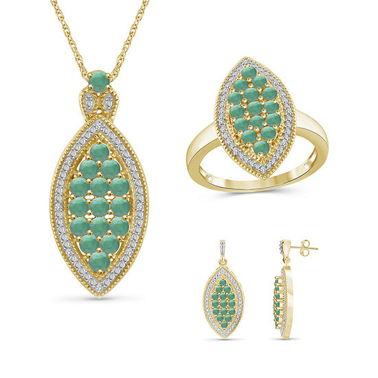 1/10 CT. T.W. Genuine Green Emerald 14K Gold Over Silver 3-pc. Jewelry Set