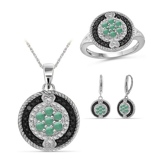 Diamond Accent Genuine Green Emerald Sterling Silver 3 Pc Jewelry Set