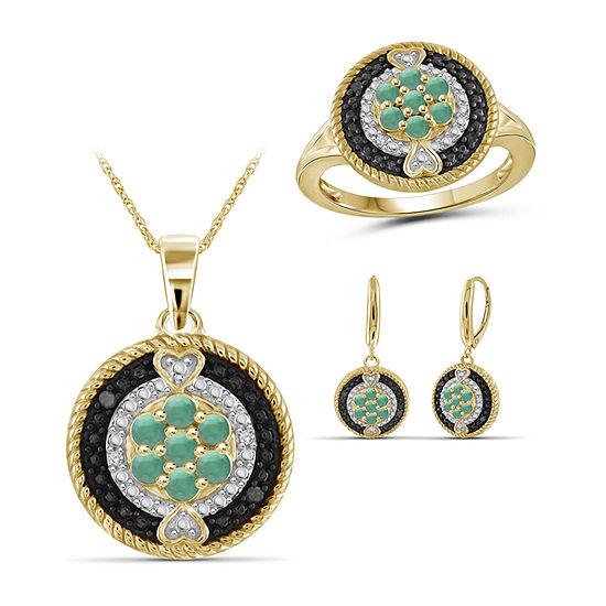 Diamond Accent Genuine Green Emerald 14K Gold Over Silver 3-pc. Jewelry Set