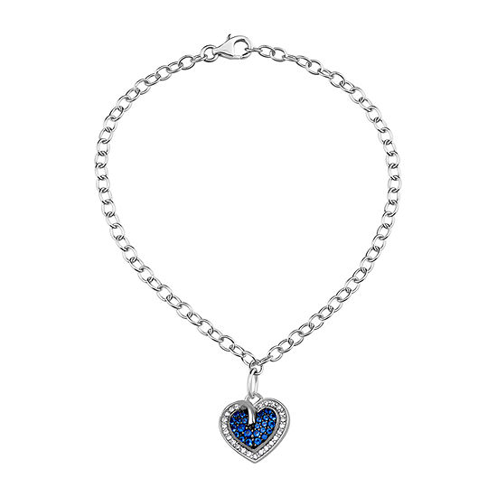 Simulated Blue Sapphire Sterling Silver Heart Charm Bracelet